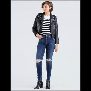 Levi's 721 High Rise Ripped Skinny Jeans Dark 28